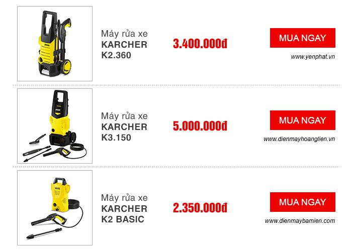 Giá bán máy rửa xe Karcher thương hiệu đến từ Đức