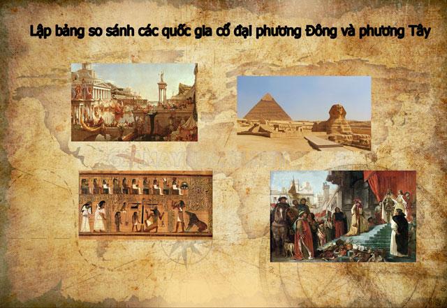 Lập bảng so sánh các quốc gia cổ đại phương Đông và phương Tây